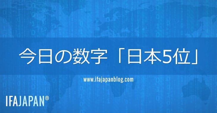 今日の数字「日本5位」-IFA-JAPAN-Blog