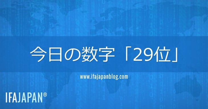 今日の数字「29位」-IFA-JAPAN-Blog